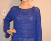 Midnight Cornflowers  Custom Made Cotton Size Hand Crocheted Sweater - Sizes 0 to 20
