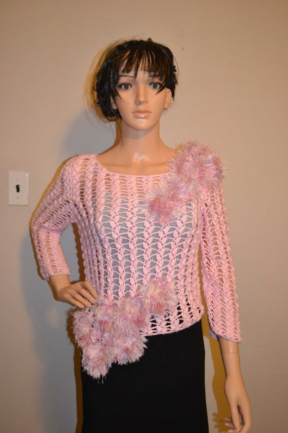 Light Pink Shines Hand Made, Super Cute Cotton, Hand Crocheted Sweater - Sizes 0 to 20