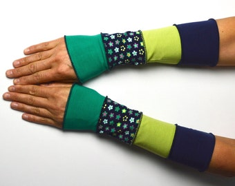 Summer Arm Warmers Wrist Warmers blue green patchwork flower