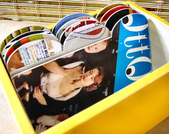 Way Yellow File Box Made with Vintage Record Album Covers-4x6