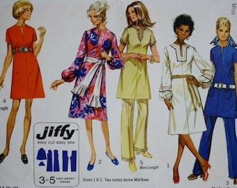 1970s Dress Sewing Pattern/Two Lengths /Simplicity 9057 /Vintage Pattern /Bust 32.5