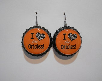 I love Baltimore Orioles bottle cap earrings