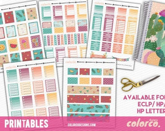Funky Fruits ECLP themed weekly kit Printable Planner Stickers Erin Condren ECLP Happy Planner Instant Digital Download