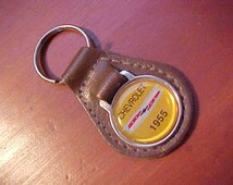 1955 Classic Chevy Chevrolet Car Collector Dark Brown Grain Leather Key Fob Retro-Cool Scarce Item Nice Wide Crest