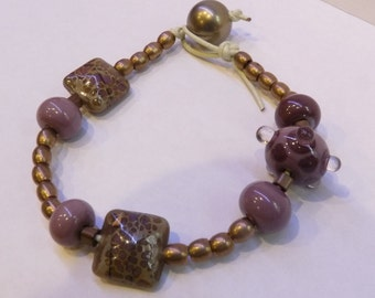 Mauve and Brass Bracelet