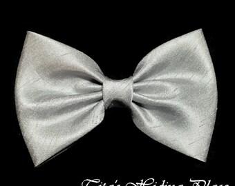 Grey Hair Bow, Shantung Hair Bow, Girls Hairbow, Fabric Hair Bow, Baby Bows, Girl Accessory, Wedding Bows, Handmade Baby Bows, Grey Bow Tie