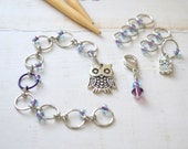 Owl Count Your Stitches / Abacus Style Knitting Row and Round Counter with Optional Stitch Marker Set