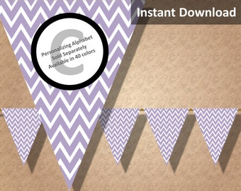 Lavendar Chevron Bunting Pennant Banner Instant Download, Party Decorations