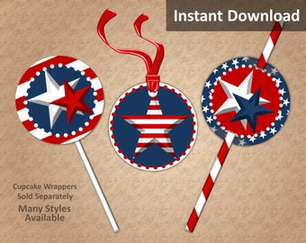 Patriotic Cupcake Toppers, Favor Tags or Straw Flags Instant Download, Red, White, Blue, Party Decorations
