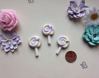 Flatback lollypop lolly pop sweet embellishments deco pack of 3