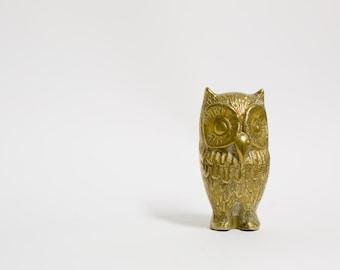 Brass Owl Statue Mid Century Paperweight 1960s Bird Animal
