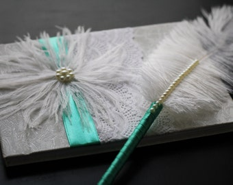 Wedding Guest Book with Ostrich Feather \ Lace, Ribbons and Feather Signin Book \ Pink Ribbons Bridal Journal \ Ostrich Feather Pen