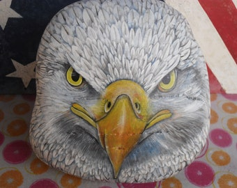 Bald Eagle Head Rock Sculpture OOAK