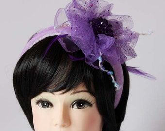 Bridal hair accessory, party hair accessory, headdress, handmade fascinator, purple flower headband