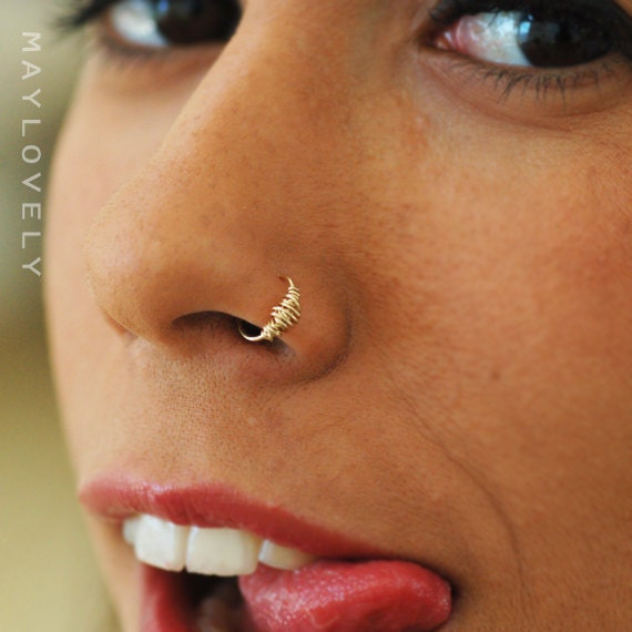 Small gold nose ring 24/22 /20/18 GAUGE silver nose ring