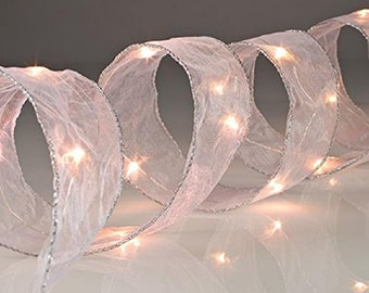 Battery Operated White LED Lighted Ribbon - 7 Foot 20 LED's - Wedding