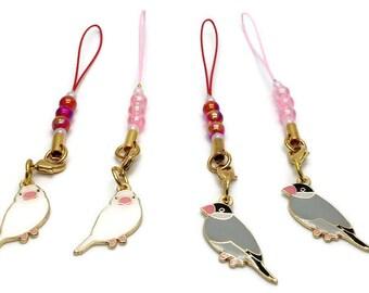 Java Sparrow Charm with Aurora Beads