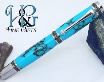 Marbled turquoise Trustone handcrafted pen in black titanium and rhodium setting, executive gift pen, rollerball fine writing instrument