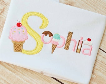 Ice Cream Monogram Birthday Applique shirt - Customizable -  Infant to Youth 100
