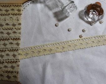 """1 Yard Vintage Ivory Cotton Lace Trim 3/4"""""""