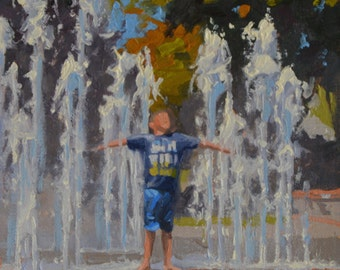 Water - Fountain - Splash - Plein Air - Los Gatos - Oil Painting - Boy - Summer - Fun - California - Joy - Young - California