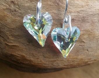 Clear Swarovski Dangle Earrings White Swarovski Earrings Giftt for Her Heart Swarovski Earrings Valentines Gift