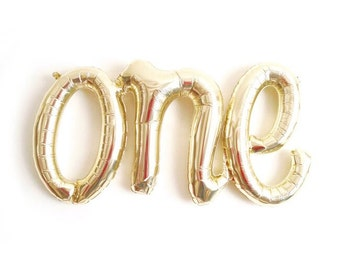 FREE SHIPPING white gold ONE script calligraphy balloon first birthday - Air Fill balloons