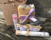 Birthday Spa Gift Set, Lavender Bath Set, Soap Gift Set with Soap, Lotion, Sugar Body Scrub, Bath Salts and Lip Balm