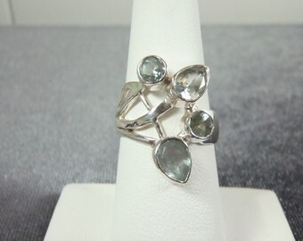 Sterling Silver Blue Topaz Ring Sz.6 3/4 R147