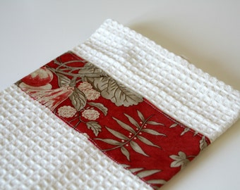 Kitchen towel white and red, with flowers design for your kitchen