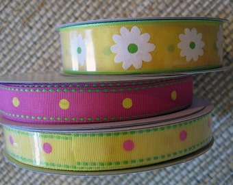 Spring Color Grosgrain Ribbons, set of 3
