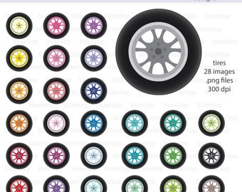 Tires with Colored Rims Digital Clipart - Instant download PNG files