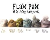 Flax Pax - Merino Flax blends - Blended roving Sample Pack - 6 x 20g (120g/4.2oz) - Merino - Flax - Tussah silk