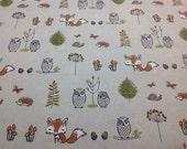 Woodland creatures owl fox 100% Cotton Upholstery Curtain Fabric unisex UK Design