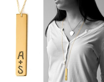 Initial Bar Pendant Necklace – Wedding Gift Necklace - Couples – Friends – Siblings and More