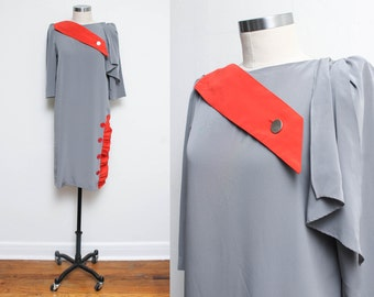 Asymmetrical Dress // 80s Avant Garde Dress // Gray Red Button Puffy Sleeve Mod Shift Geometric Button Detail Modern Size 3 4 Small