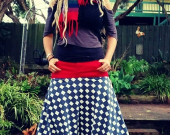Harem pants/ checkered pants/ pirate pants/ hippy pants/ upcycled clothing/ vintage/ retro/ Size 14.