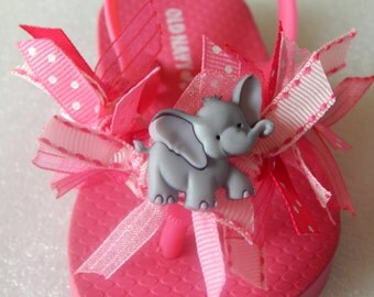 ELEPHANTS AT PLAY---Toddler and Girls Flip Flops