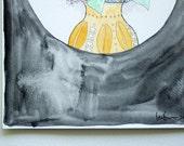 Black Hydrangea Floral - Original Watercolour + Ink Pen Art Drawing - (unframed)