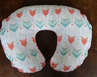 Boppy cover in coral and aqua arrow fabric-Ready to ship