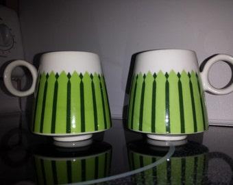 Awesome set of 2 DANISH MODERN Coffee #MUGS 1960s Catherinhom era