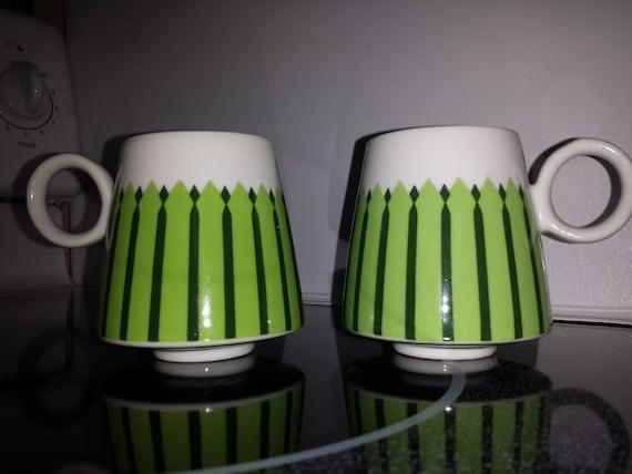 Awesome Set Of 2 Danish Modern Coffee Mugs 1960s Catherinhom