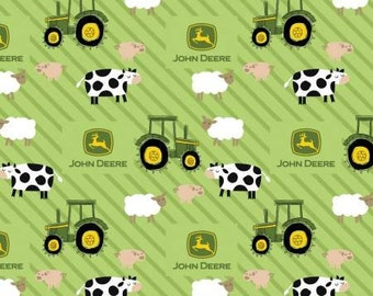 John Deere Animals on Stripes  flannel   Crib/toddler fitted  sheet