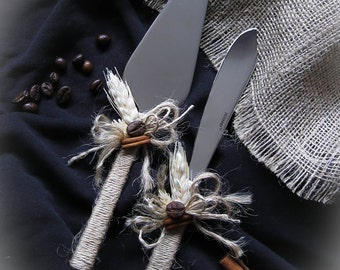 Rustic Wedding Cake Knife Set with Coffee Beans, Burlap and Flax, Cake Cutting Set, Cake Cutter, Cake Server, Cake Knife Set,  Cake Serving