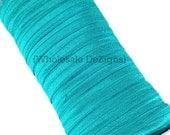 """Teal Green FOE - Fold Over Elastic - 5/8"""" Foe Headbands - Hair Ties - Shiny Satin Elastic"""