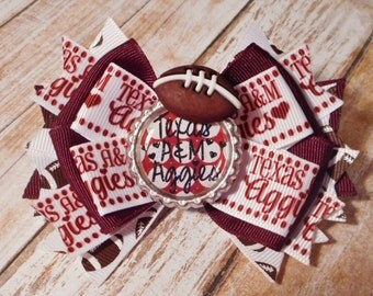 Texas A&M Aggies Football Inspired Glitter Bottlecap Stacked Bow