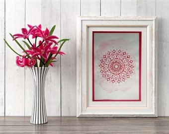 Pink Mandala, Meditation Art, Zen Wall Art, Meditation Decor