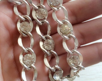 2m Silver  Tone Chain  Crystal Chain  Necklace Chain