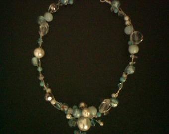 Blue wire work necklace