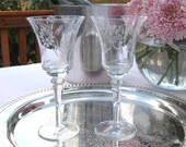 Vintage Etched Wine Glasses Goblets Pair Set of 2 Toasting Glasses Etched with Flowers | Wedding Bride and Groom Toasting Glasses